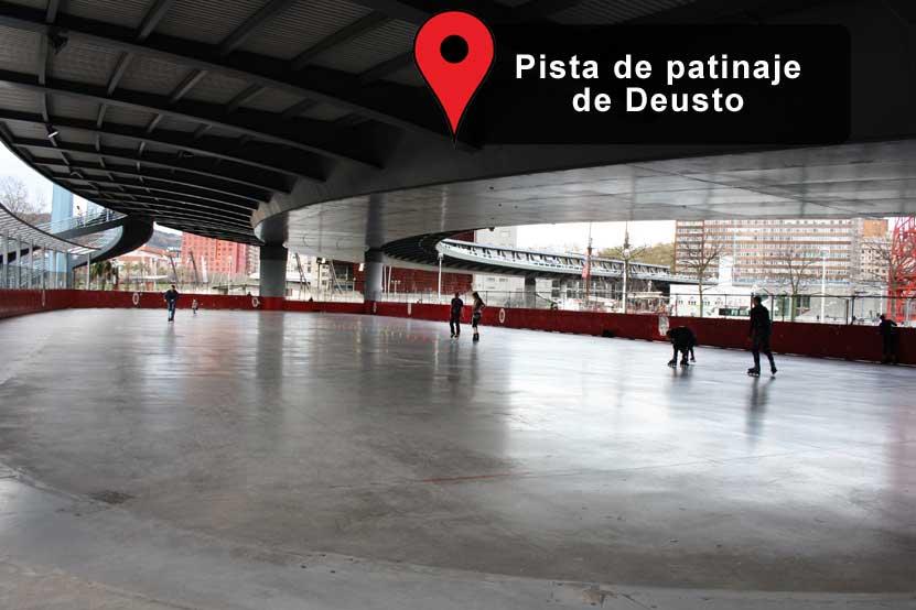 Pista para patinar bajo el puente Euskalduna, Bilbao