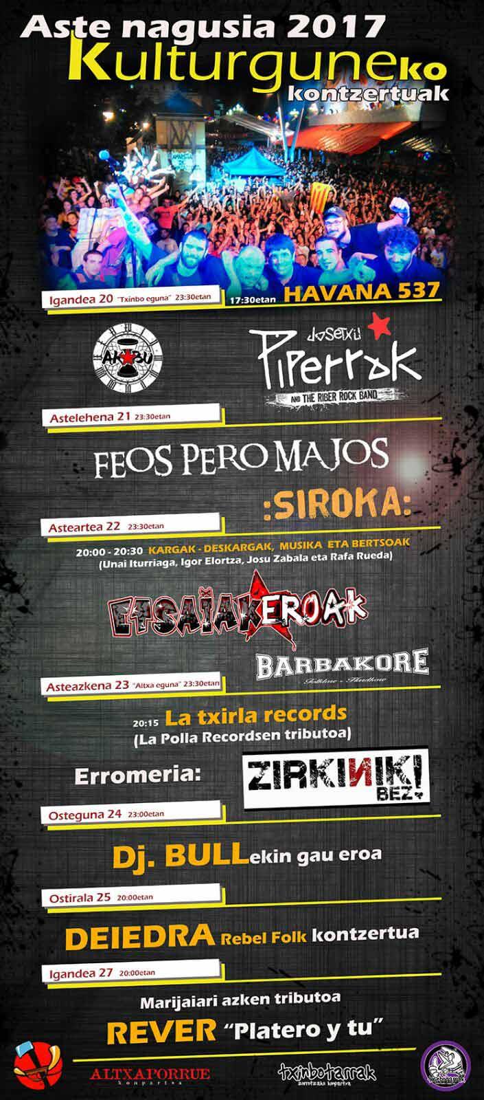Conciertos Altxa Porrue y Txinbotarrak 2017